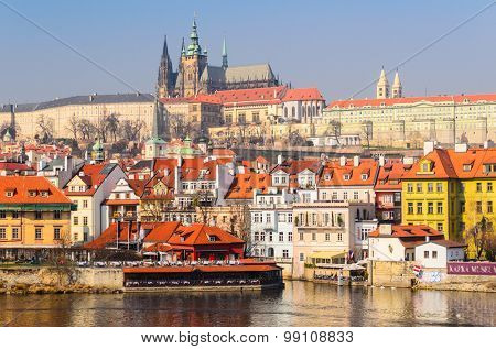 Prague castle and old town, spring, Czech Republic