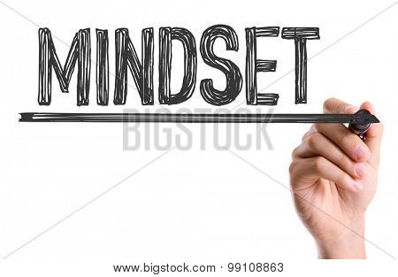 Hand with marker writing the word Mindset