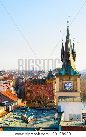 sunset view of Prague old town and clock tower, Czech Republic