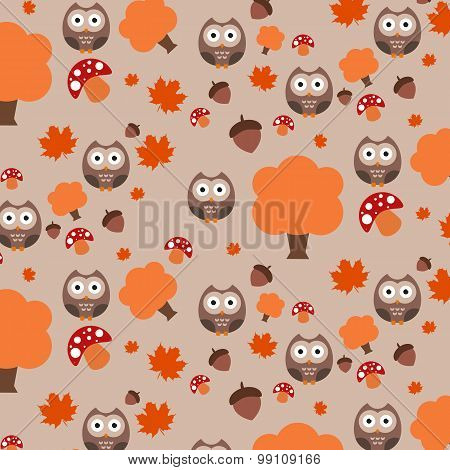 Autumn pattern, owl, tree, acorn, mushroom, illustrator