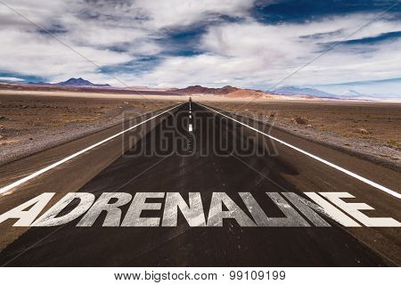 Adrenaline written on desert road