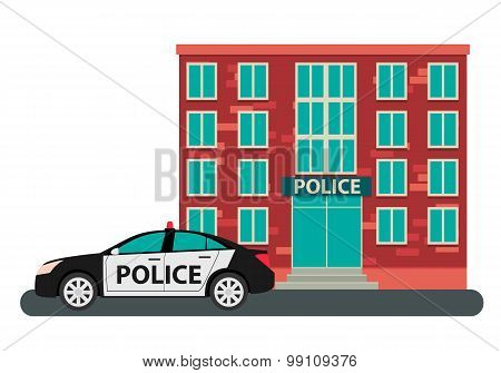 Building police and the car on a white background. Vector illustration