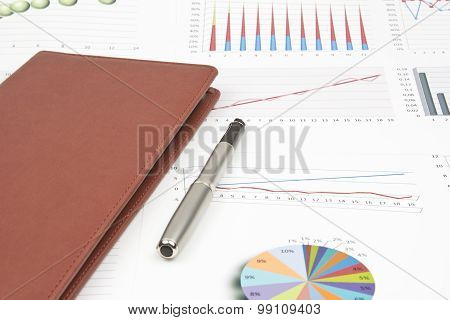 Business Still-life Of A Charts, Ink Pen, Card Holder