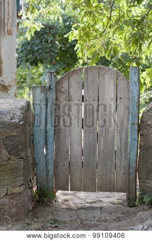 Old Wooden Gate In The Yard