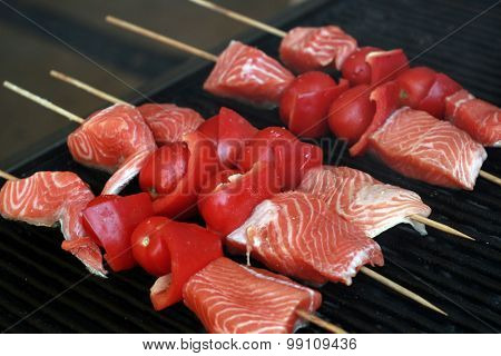 Salmon With Vegetables On Skewers