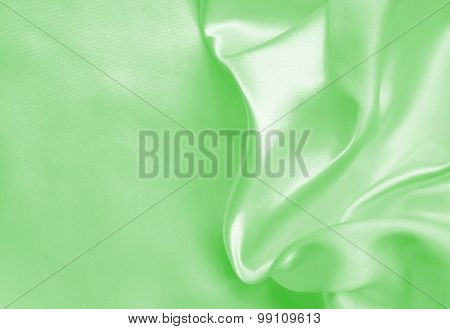 Smooth Elegant Green Silk Or Satin Texture As Background
