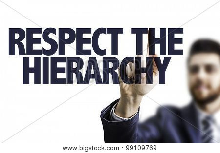 Business man pointing the text: Respect the Hierarchy