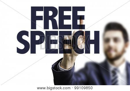 Business man pointing the text: Free Speech