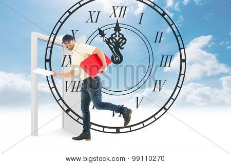 Delivery man with red box running on white background against roman numeral clock