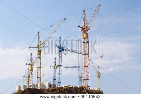 Big Building With Cranes