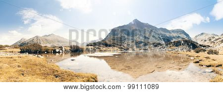 Mountain lake landscape panorama. Captured in Pirin mountain Bulgaria