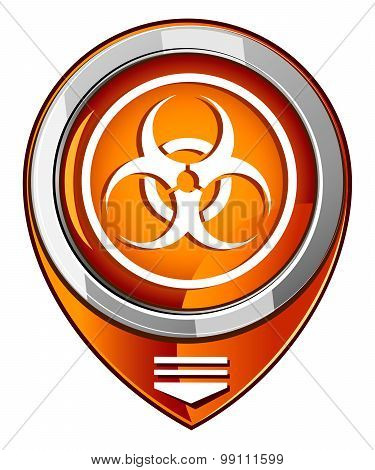Warning Symbol Biohazard Orange Pointer