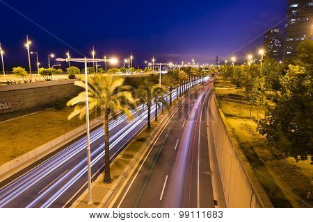 Light Trail On Metropolitan Road