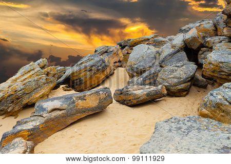 Stone Desert On Fantastic Sunset Background .