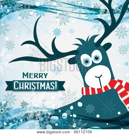 Christmas greeting card with a deer, vector illustration
