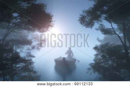 Silhouette of a man in a boat in the fog.