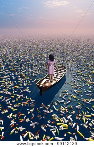 The girl in the boat in a sea of garbage.