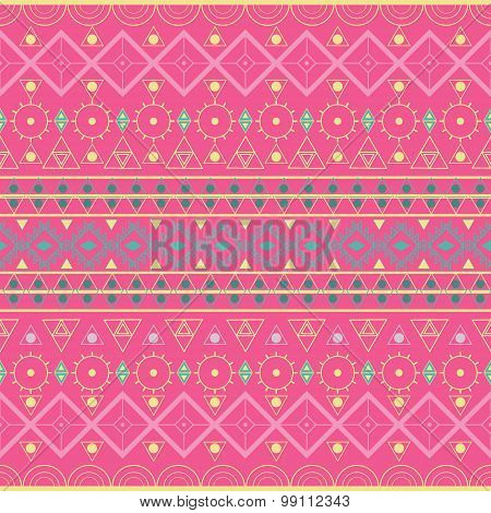Ethnic Patterns Seamless Pink Background