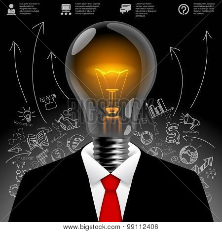 Lightbulb business man.  Business idea symbol. Modern design template and business concept. Vector illustration