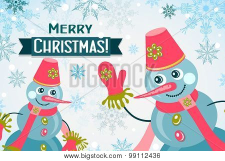 Template Christmas greeting card, snowman, vector illustration