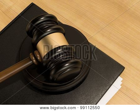 Wooden Judges Gavel And Leather Folder On The Wooden Background