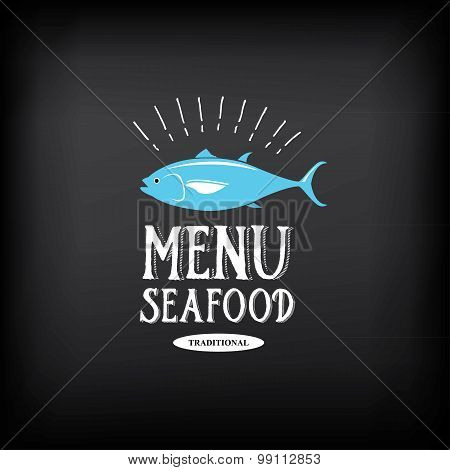 Seafood menu and badges design elements. Vector with graphic.