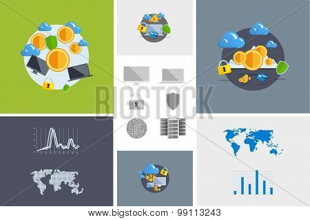 Flat Modern Design Vector Illustration And Icon. Concept Electronic Commerce. Bitcoin Mining. Cloud