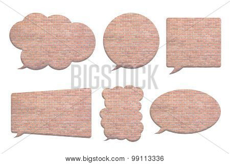 Brick Wall In Bubble Speech Shape Isolated On White