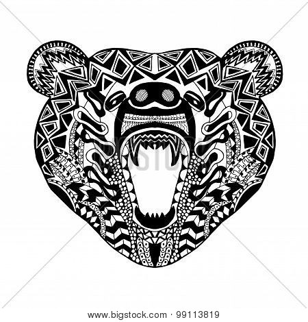 Zentangle stylized bear. Sketch for tattoo or t-shirt.