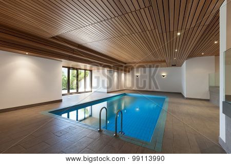 luxury apartment with indoor pool, wooden ceiling