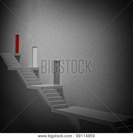 3d image of stair and door