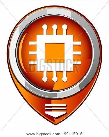 Electronic Chip Orange Pointer