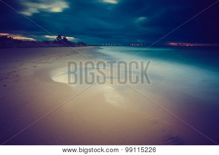 Vintage Photo Of Beautiful Long Exposure Landscape Of Sea Shore