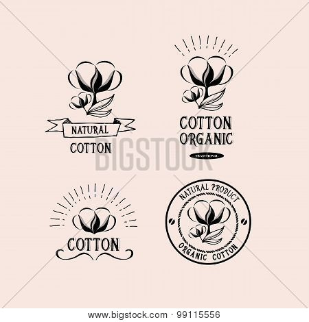 Cotton badges design, organic product. Vector with graphic.
