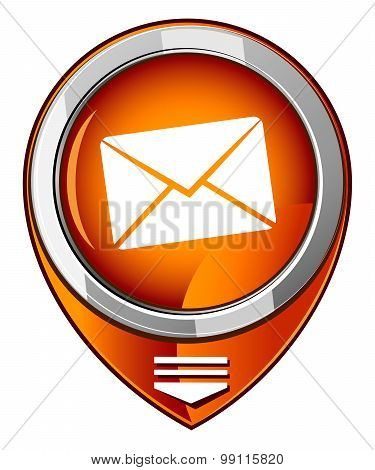 Send email symbol orange map pointer.