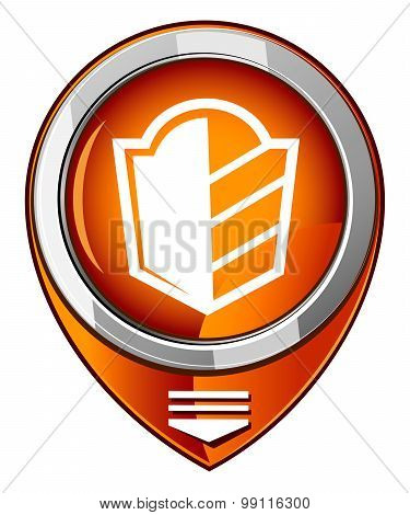 Protect, Security Sign, Orange Map Pointer
