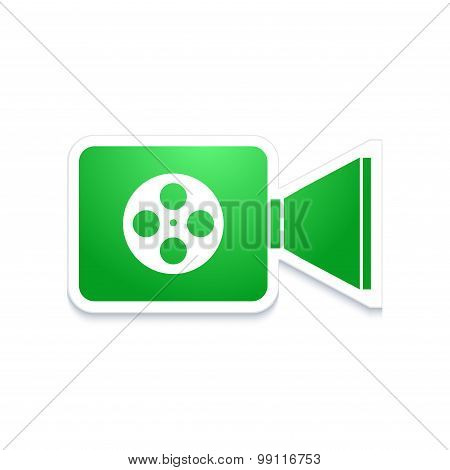 vector modern video camera icon on white