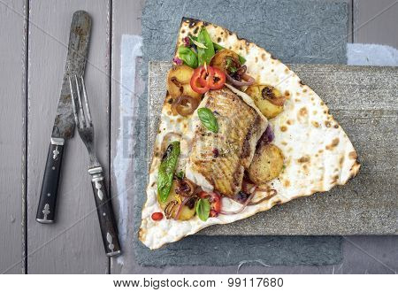 Codfish Fillet with Vegetable on Yufka Bread
