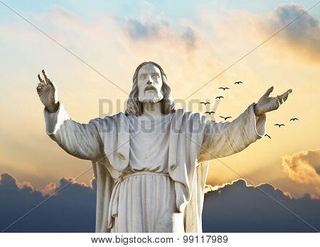 christ in the sunset