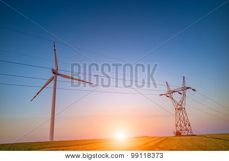 Sunset Over The Powerline