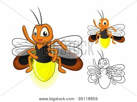 Detailed Firefly Cartoon Character with Flat Design and Line Art Black and White Version