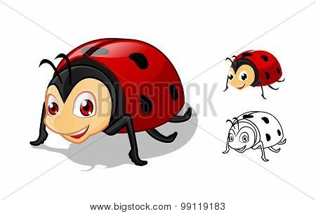 Detailed Ladybug Cartoon Character with Flat Design and Line Art Black and White Version