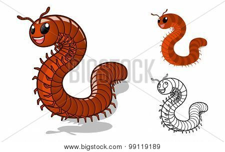 Detailed Millipede Cartoon Character with Flat Design and Line Art Black and White Version