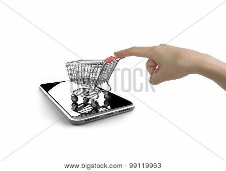 Woman Forefinger Pushing Shopping Cart On Smartphone Of White Screen