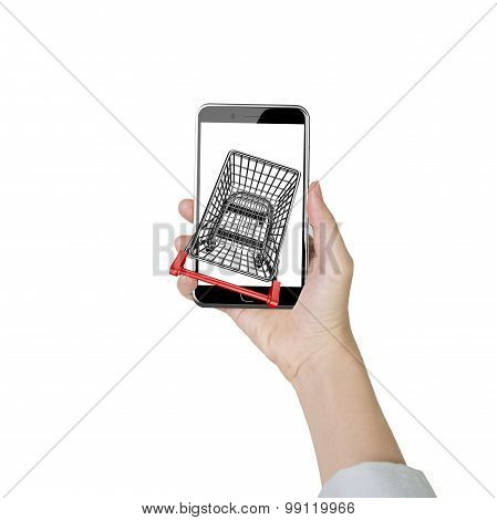 Woman Hand Holding Smartphone With Shopping Cart On White Screen