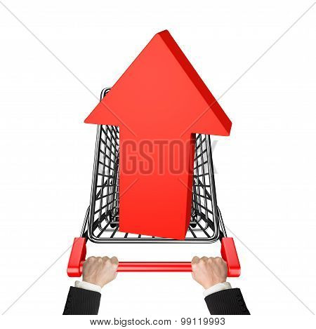 Hands Pushing Shopping Cart With 3D Red Arrow Up Symbol
