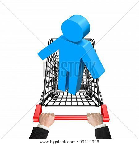 Hands Pushing Shopping Cart With Blue 3D Man