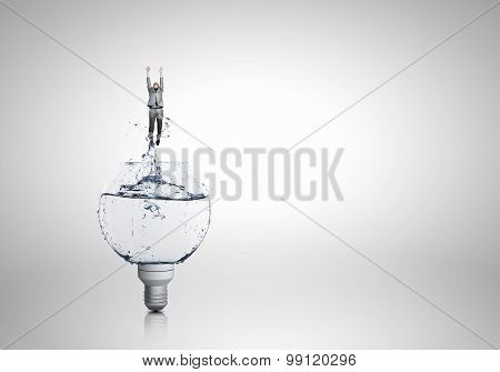 Light bulb with clear water