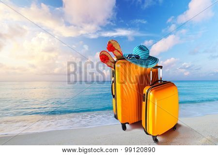 Summer holidays with baggages on the tropical beach