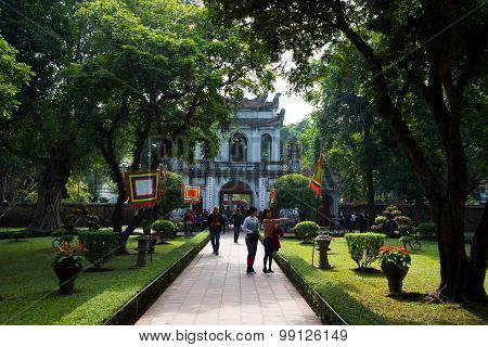 Main entrance gate to the temple of Literature in Hanoi, Vietnam